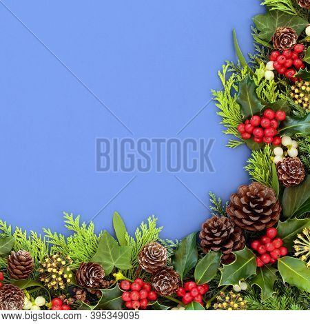 Winter, Christmas & New Year background border with holly & winter greenery of mistletoe, ivy, cedar cypress & juniper fir leaves. Natural traditional flora for the festive season. Top view, flat lay.