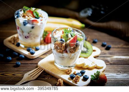 Fresh Fruit Yoghurt And Mix Fruit For Healthy And Dieting.  Health Care People With Smoothie Drink O
