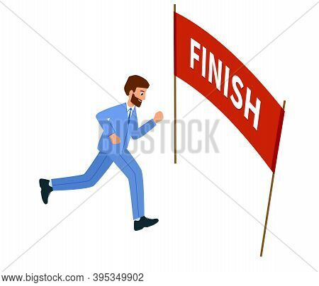 Businessman Running The Goal, Reached The Finish Line. Concept Of Overcoming Difficulties And Achiev