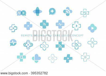Telemedicine Icons Set, Medical Cross Sign Collection, Creative Logo Concept For Remote Medicine, We