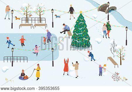People Walk In The Park In Winter. Winter Outdoor Activities. Men, Women And Children Doing Winter A