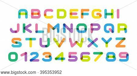 Colorful Letters Set. Bright Color Cartoon Style Alphabet. Creative Art Or Kids Zone Font. Original