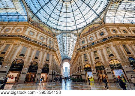 Milano, Italy - oct 16, 2020: Inside the Galleria Vittorio Emanuele II in Milano