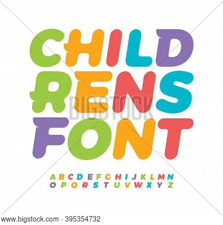 Baby Letters With Funny Tail Serif. Awesome Children Alphabet. Colored Bold Italic Font, Type For Ba