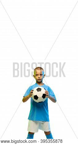 Young Boy With Soccer Ball Isolated On White Studio Background, Vertical Flyer With Copyspace For So