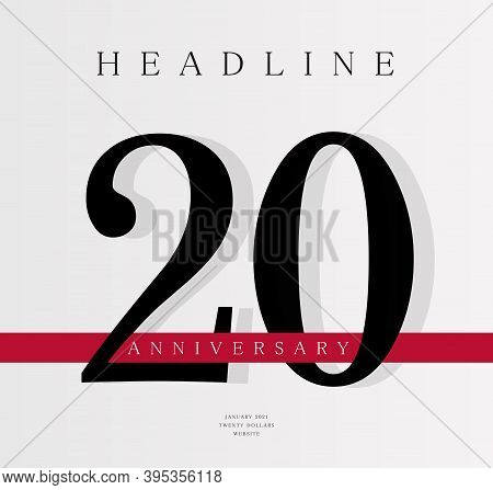 20th Anniversary Banner Template, Journal Cover Design Template, Twentieth Jubilee Release, Business