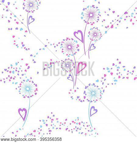 Dandelion Flowers Unique Vector Seamless Pattern. Wrapping Print Design. Botanical Dandelion Blowing