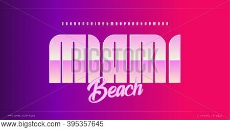 Sleek Modern Alphabet. Miami Stunning Font, Minimalist Type For Modern Futuristic Logo, Headline Pos