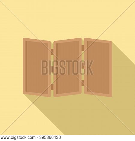 Folding Wood Wall Icon. Flat Illustration Of Folding Wood Wall Vector Icon For Web Design