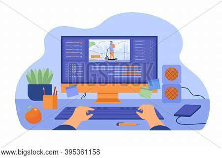 Computer And Monitor Of Graphic Animator Creating Video Game, Modeling Motion, Processing Video File