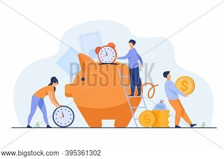 Rich People Keeping Cash And Clocks In Piggy Bank. Vector Illustration For Time Is Money, Business,