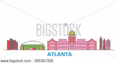 United States, Atlanta Line Cityscape, Flat Vector. Travel City Landmark, Oultine Illustration, Line