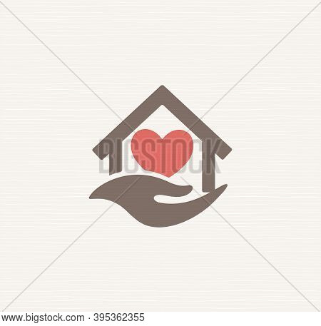 House With Heart Inside House And Caring Hand, Vector Sign. Symbol Care For Elderly At Home, Care Lo
