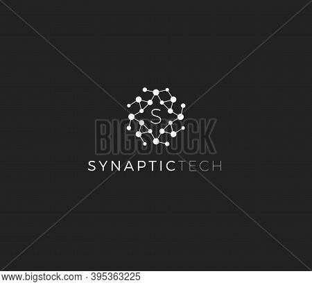 Synapse Structure, Abstract Vector Logo Concept. Synaptic Tech Emblem, Isolated Icon On White Backgr