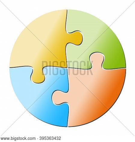 Colorful Circular Four-part Jigsaw Puzzle Vector Illustration