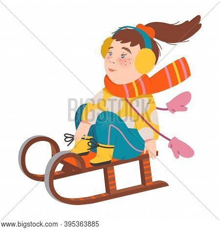 Little Girl In Warm Earmuffs And Scarf Sledging Vector Illustration