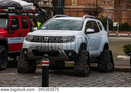 Dacia Duster Police Car For Special Interventions With Custom Triangular Tracks For Wheels In Buchar