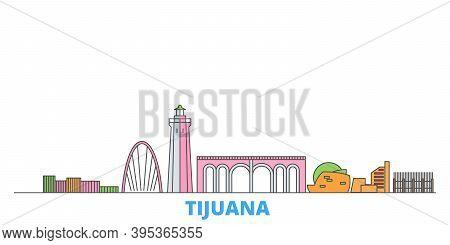 Mexico, Tijuana Line Cityscape, Flat Vector. Travel City Landmark, Oultine Illustration, Line World