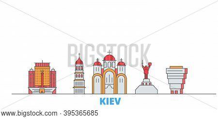 Ukraine, Kiev Line Cityscape, Flat Vector. Travel City Landmark, Oultine Illustration, Line World Ic