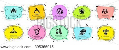 Nature Icons Set. Speech Bubble Offer Banners. Vector Coupon Badge. Included Icon As Slow Fashion, L