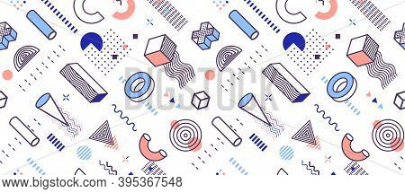 Background Of Geometric Shapes, Geometrical Style Seamless Pattern, Bright Fashionable Colors For We