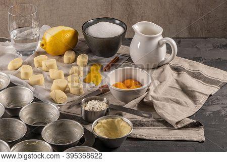 Ingredients For Homemade Baking Portuguese Egg Tarts - Flour, Milk, Water, Egg, Sugar, Lemon, Cinnam