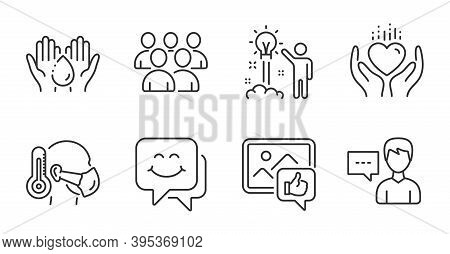 Group, Like Photo And Creative Idea Line Icons Set. Hold Heart, Wash Hands And Smile Face Signs. Sic
