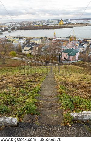 Steps Down With A View Of The Church Of The Cathedral Of The Virgin In Nizhny Novgorod.