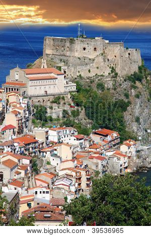Scilla, Castle on the rock in Calabria, Italy