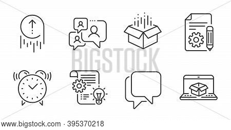 Online Delivery, Talk Bubble And Alarm Clock Line Icons Set. Documentation, Open Box And Cogwheel Si