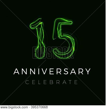 Fifteen, Fifteenth Anniversary Poster For Party. 15 Years Sign. 15th Birthday Celebrate. Vector Illu