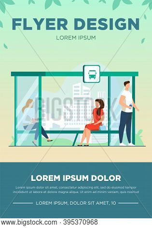 People Waiting Public Transport At Bus Stop. Bench, Reading, Cityscape Flat Vector Illustration. Tra