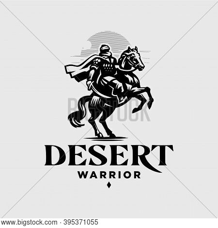 Male Warrior With A Closed Face And A Cloak, Warrior, Arab, Bedouin, Tuareg. The Horse Reared Up. In