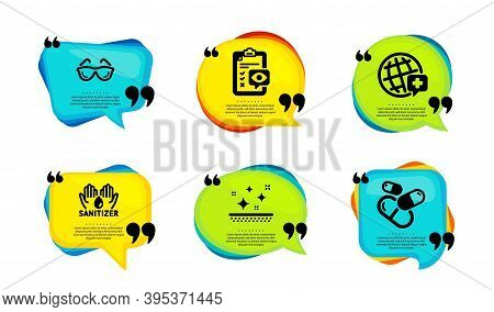 Clean Skin, Hand Sanitizer And Eye Checklist Icons Simple Set. Speech Bubble With Quotes. World Medi