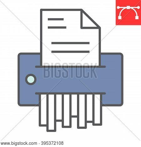 Paper Shredder Color Line Icon, Security And Paperwork, Document Shredder Sign Vector Graphics, Edit