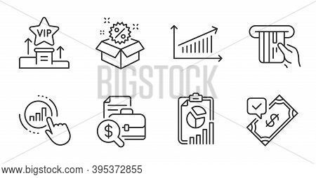 Vip Podium, Report And Accounting Report Line Icons Set. Sale, Chart And Graph Chart Signs. Accepted