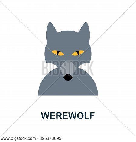 Werewolf Icon. Simple Element From Halloween Collection. Creative Werewolf Icon For Web Design, Temp