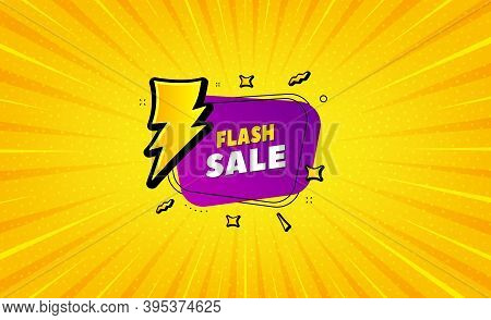 Flash Sale Banner. Yellow Background With Offer Message. Discount Sticker Shape. Coupon Bubble Icon.
