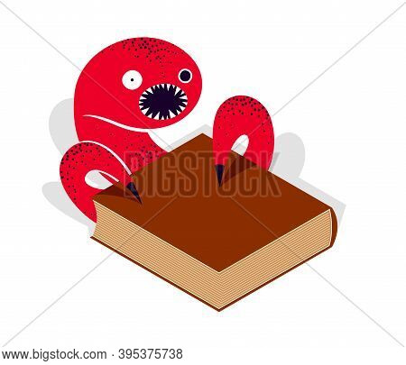 Horror Fiction Book With Creepy Creature Monster Getting Out Of Pages Vector Illustration 3d Isometr