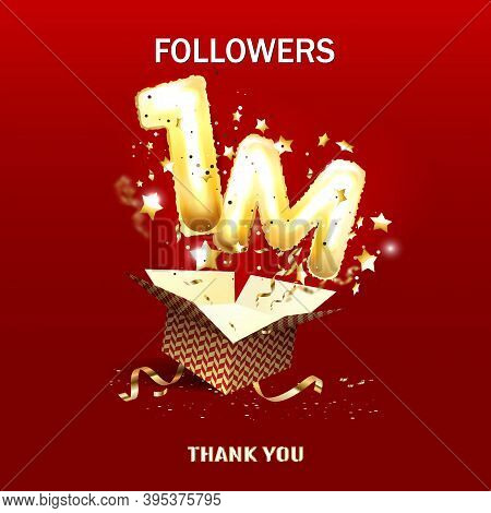 Thank You Followers Peoples, 1m Online Social Group, Happy Banner Celebrate