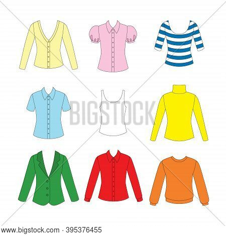 Set Of Clothes For Girls On White Background