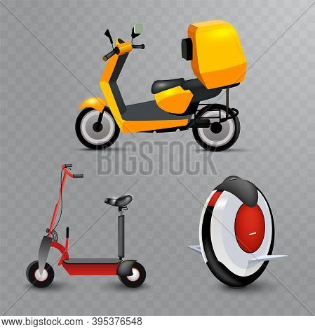 Realistic Youth City Transport Set On Transparent Background. Kick Scooter, Mono Wheel And Bike. Mod