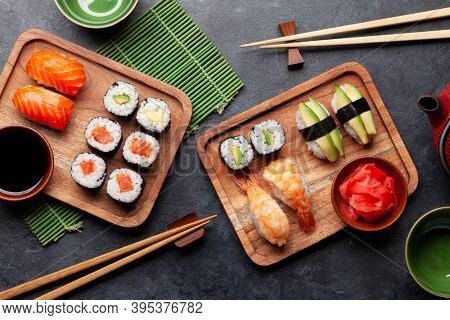 Japanese sushi set. Top view flat lay