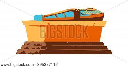 Ancient Egypt Vector Cartoon Illustration. Egyptian Culture Symbol, Golden Or Stone Pharaoh Sarcopha