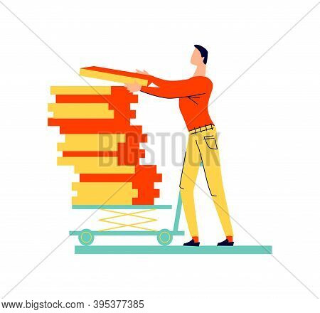 Male Character Moves Cargo Cartoon Vector. Worker, Man In Casual Wear Took The Load In Hand And Move