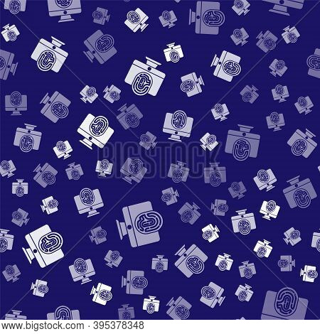 White Monitor With Fingerprint Icon Isolated Seamless Pattern On Blue Background. Id App Icon. Ident