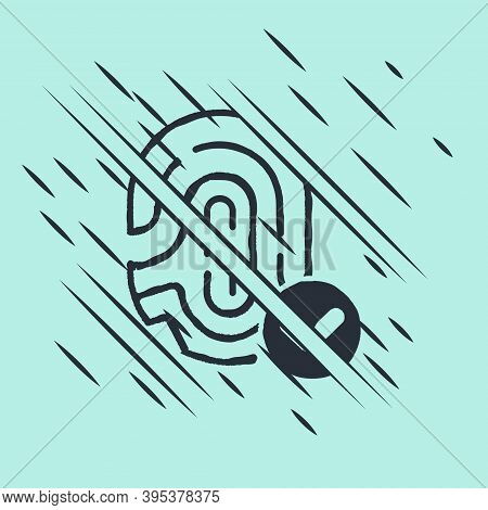 Black Fingerprint With Check Mark Icon Isolated On Green Background. Id App Icon. Identification Sig