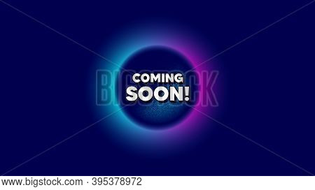 Coming Soon. Abstract Neon Background With Dotwork Shape. Promotion Banner Sign. New Product Release