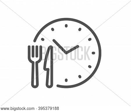 Food Time Line Icon. Meal Order Clock Sign. Restaurant Opening Hours Symbol. Quality Design Element.