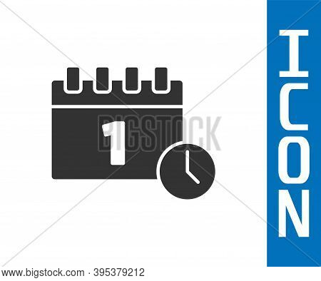 Grey Calendar With First September Date Icon Isolated On White Background. September 1. Date And Tim